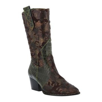 L'Artiste by Spring Step Women's Rebas Western Boot Brown Multi Leather/Synthetic