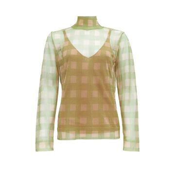 Fendi - High-neck Check Knitted Top - Womens - Beige