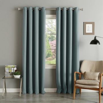 Aurora Home Silvertone Grommet Thermal Insulated Blackout Curtain Panel Pair