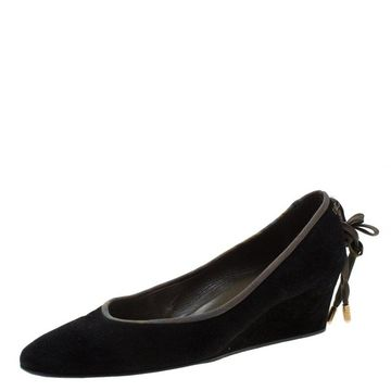 Hermes Black Suede Bow Detail Wedge Pumps Size 39