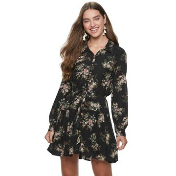 Juniors' American Rag Button Front Shirt Dress