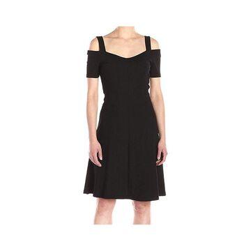 Three Dots Womens Dress Jet Black Size Small S Sheath Cold-Shoulder