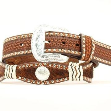 Nocona N2413808-30 Calf Hair Scallop Crystal & Knot Belt, Tan - Size 30