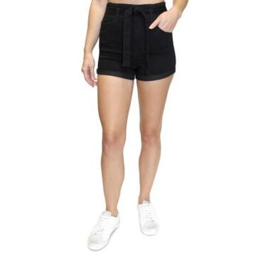 Almost Famous Juniors' Belted High Rise Denim Shorts