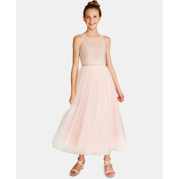 Big Girls Beaded Lace-Up Dress