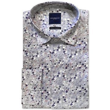Men's Modern-Fit Performance Stretch Wrinkle-Resistant Floral Stripe-Print Dress Shirt