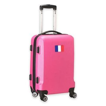 Denco Mojo France Flag 21-Inch Hardside Spinner Carry-On Luggage in Pink
