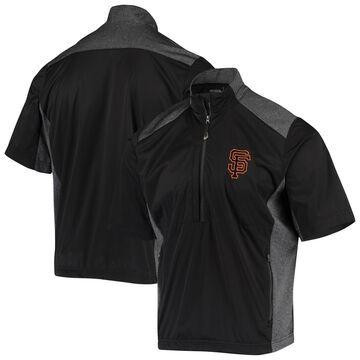 San Francisco Giants Antigua Barrier Short Sleeve Half-Zip Jacket Black