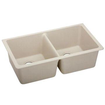 Elkay Quartz Undermount 33-in x 18.50-in Putty Double Equal Bowl Kitchen Sink in Off-White   ELGU3322PT0
