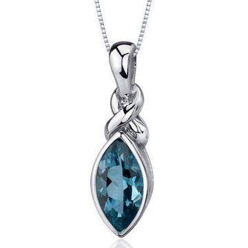 Oravo 1.75 Carat T.G.W. Marquise-Cut London Blue Topaz Rhodium over Sterling Silver Pendant, 18