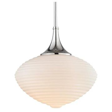 Hudson Valley Knox 1 Light Pendant With Matte Opa, Polished Nickel