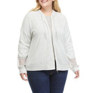 Cupio Women's Plus Size Full Zip Hoodie With Lace Trim - -