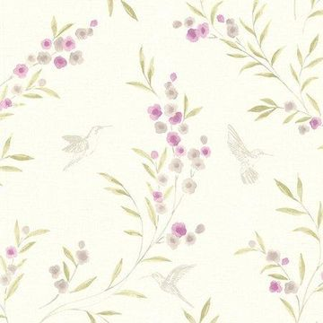 Brewster Botanical Purple Lineanna Wallpaper