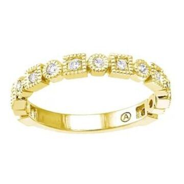 10k Gold 1/4ct TDW Diamond Vintage Inspired Band Ring by Beverly Hills Charm (7 - Yellow)