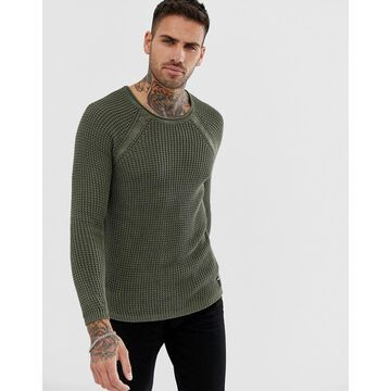 Replay muscle fit mesh sweater in olive-Green