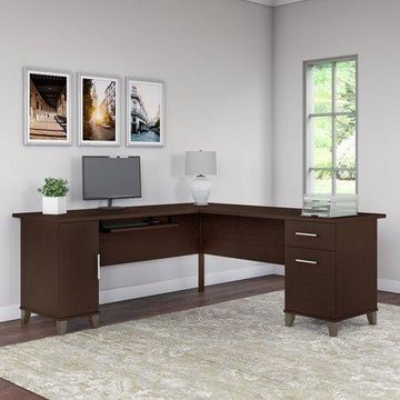 Bush Furniture Somerset 72W L Shaped Desk in Mocha Cherry