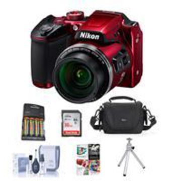 Nikon Coolpix B500 Digital Point Shoot Camera, Red - Bundle With Camera Bag, 16GB Class 10 SDHC Card, Cleaning Kit, Software Package