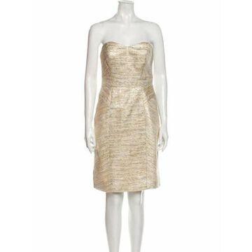 Strapless Knee-Length Dress Gold