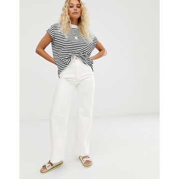 Weekday Cosmo denim pants in white