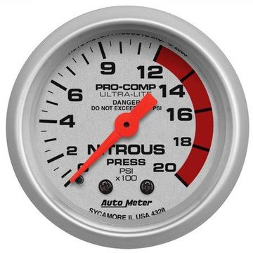 AutoMeter 4328 Ultra-Lite Mechanical Nitrous Pressure Gauge * NEW *