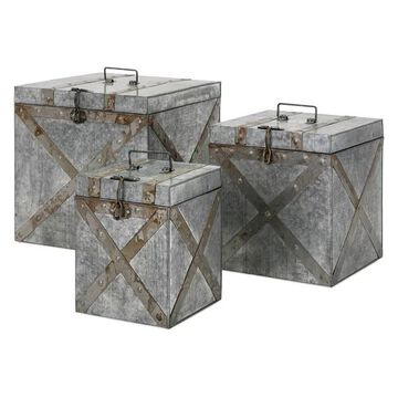 Imax Parry Galvanized, Set of 3 Trunk