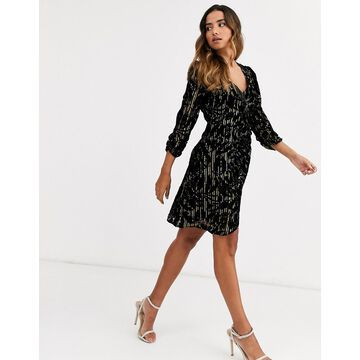 Y.A.S wrap mini dress in black textured velvet-Multi