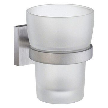 Smedbo House Tumbler Frosted Glass, Brushed Chrome