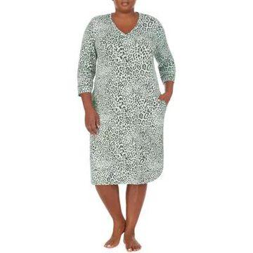 Ellen Tracy Women's Plus Size Animal Print 3/4 Sleeve Nightgown - -