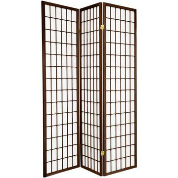 Oriental Furniture 3-Panel Walnut Paper Folding Shoji Style Room Divider in Brown | SSCWP-3P-WAL