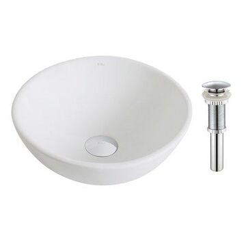 KRAUS Elavo Small Round Ceramic Vessel Bathroom Sink in White with Pop-Up Drain in Chrome