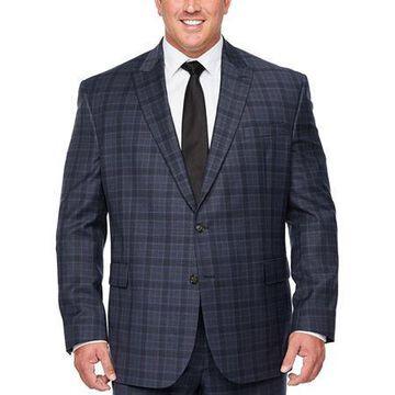 Stafford Super Suit Mens Plaid Stretch Classic Fit Suit Jacket