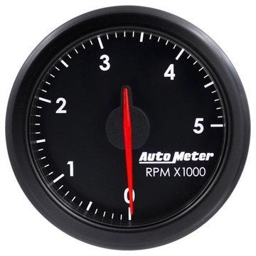 AutoMeter 9198-T AirDrive Tachometer; 2-1/16 in.; Black Dial Face; User Selectable LED; Electric Air-Core; 0-5000 RPM; Works w/Most OBDII Vehicles;