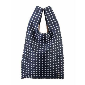 Polka Dot Jacquard Shopper Tote Blue