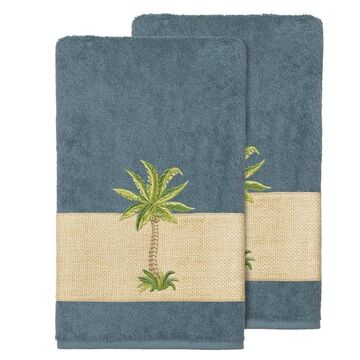 Authentic Hotel and Spa Turkish Cotton Palm Tree Embroidered Teal Bath Towels (Set of 2)