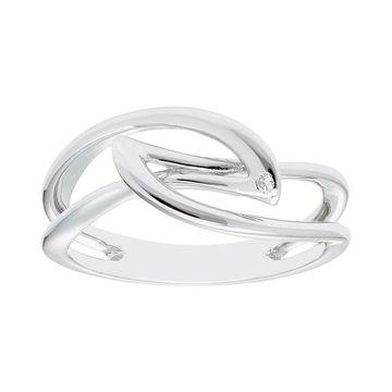 Boston Bay Diamonds Sterling Silver Diamond Accent Crossover Ring