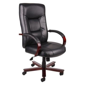 Boss Executive Leather High Back Chair With Mahogany Finished Wood