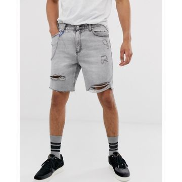 Bershka slim denim shorts with abrasions in gray