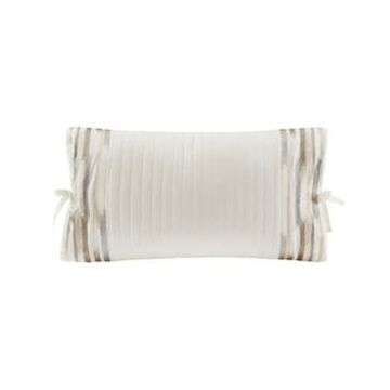 "N Natori Hanae 12"" x 20"" Embroidered Cotton Oblong Decorative Pillow Bedding"