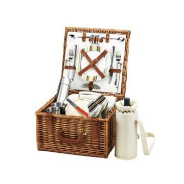 Picnic at Ascot Cheshire English Style Willow Picnic and Coffee Basket for 2