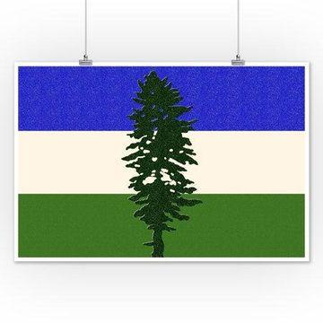 Cascadia Flag - Letterpress - Lantern Press Artwork (12x18 Art Print, Wall Decor Travel Poster)