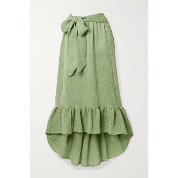 Lisa Marie Fernandez - Nicole Belted Ruffled Linen-blend Gauze Midi Skirt - Green