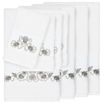 Authentic Hotel and Spa Turkish Cotton Shells Embroidered White 8-piece Towel Set