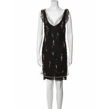 Msgm V-Neck Mini Dress Black Msgm V-Neck Mini Dress