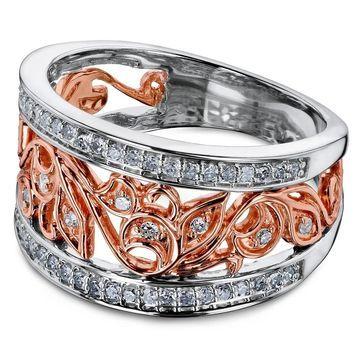 Annello by Kobelli 10k Two Tone Gold 1/3 Carat TDW Diamond Floral Filigree Anniversary Ring