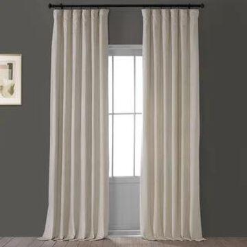 Exclusive Fabrics Heritage Plush Velvet Single Curtain Panel (50 X 108 - Light Beige)