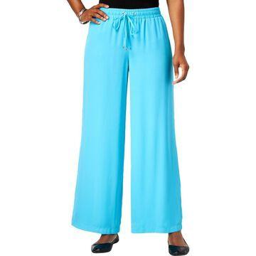 JM Collection Womens Low-Rise Drawstring Wide Leg Pants