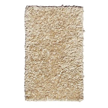 The Rug Market Shaggy Raggy 5 x 8 Off-White Solid Kids Handcrafted Area Rug   02210D