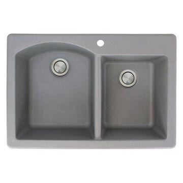 Transolid Aversa Granite 1- Hole Drop-in Offset Kitchen Sink, 33