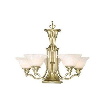 Vaxcel Lighting Standford 6 Light Single Tier Chandelier Frosted Glass Shades