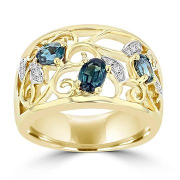 La Vita Vital 18K Yellow Gold 0.80ct TGW Brazilian Alexandrite and Diamond Cocktail Ring (VS-SI1, G-H)